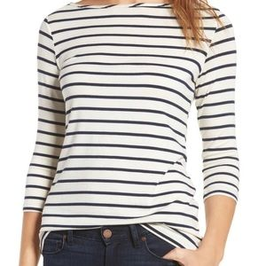 Striped boat neck long sleeve